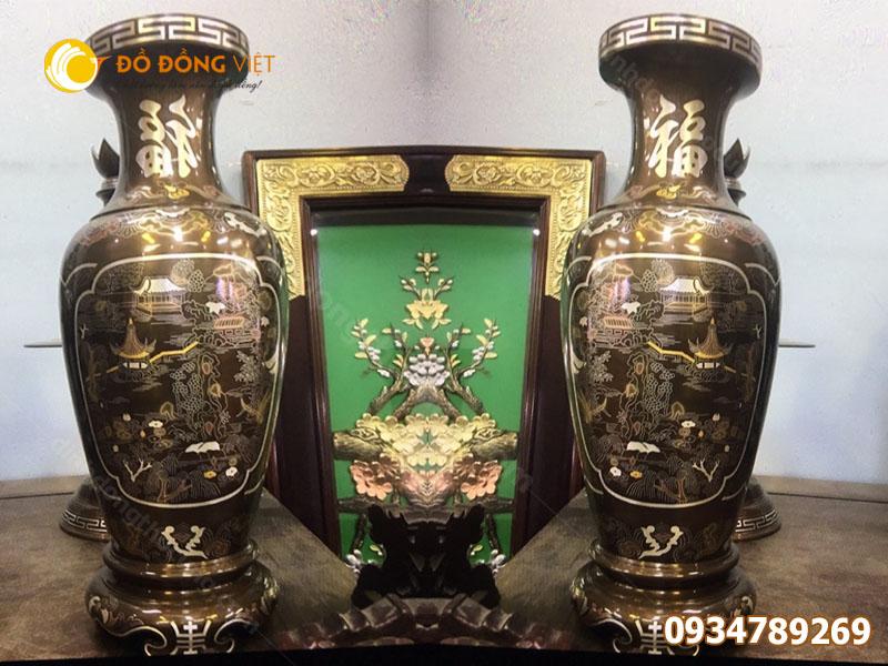 Bán lọ hoa thờ cúng bằng đồng khảm ngũ sắc cao 42cm giá rẻ