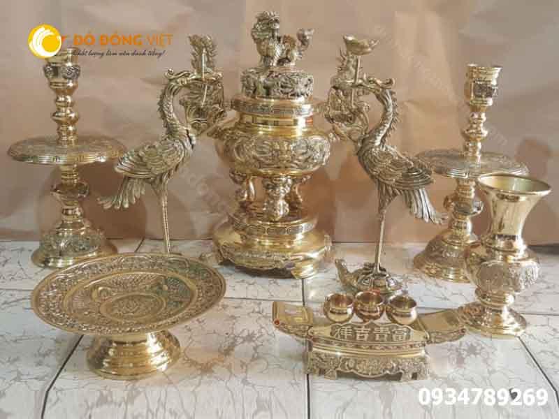 Bộ lư ( Đỉnh ) đồng Dapha thờ cúng ngũ sực và phụ kiện đồ thờ đa pha rẻ đẹp