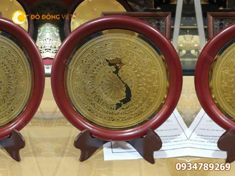 Đĩa quà tặng trống đồng ăn mòn khắc bản đồ Việt Nam