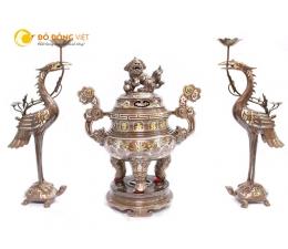 Đỉnh đồng khảm ngũ sắc 5 chữ vàng, đồ thờ cúng đỉnh đồng tam sự