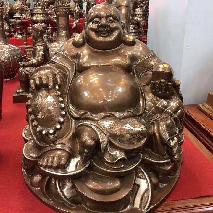 Đúc tượng Phật di lặc khảm ngũ sắc theo yêu cầu