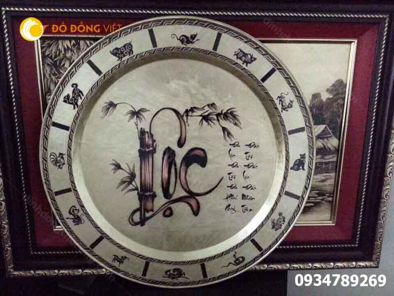 Mâm đồng thờ cúng chạm chữ Lộc ý nghĩa phong thủy
