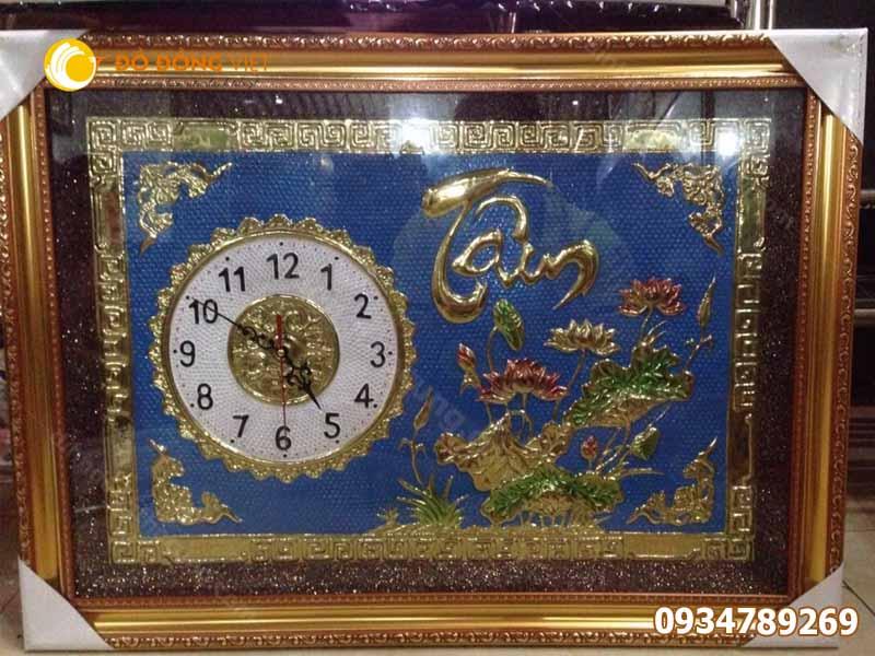 Tranh đồng hồ chữ tâm bằng đồng