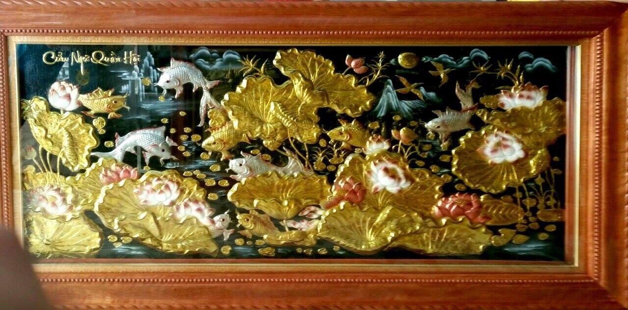 Tranh đồng hoa sen vàng Ngư phúc đồ
