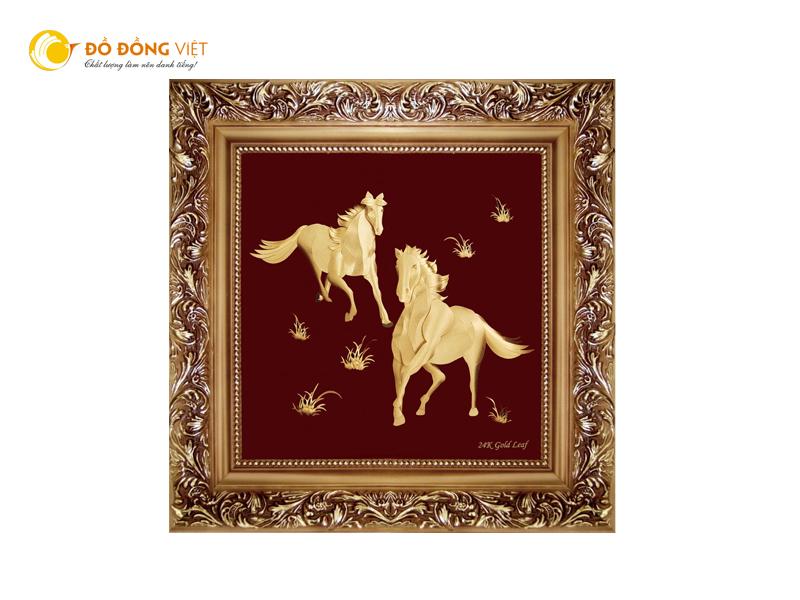 Tranh ngựa dát vàng 24k đẹp tinh xảo, quà tặng doanh nhân ý nghĩa