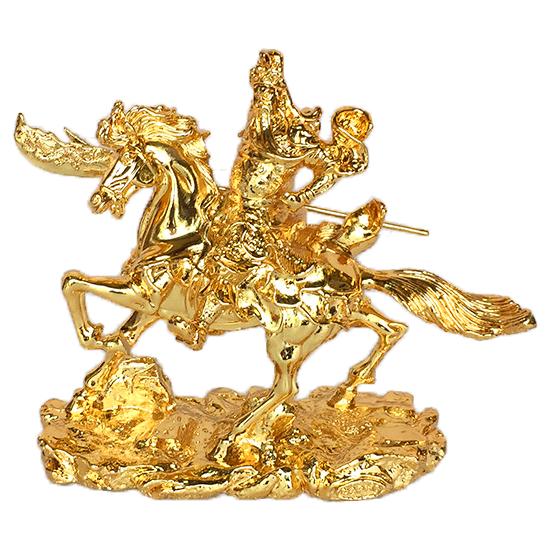 Tượng quan công bằng đồng mạ vàng cưỡi ngựa cầm đại đao