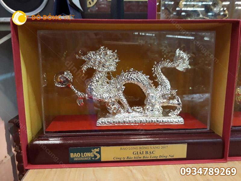 Tượng rồng bằng đồng mạ bạc phong thủy 20cm