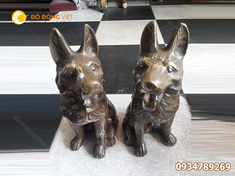 tượng con chó bằng đồng