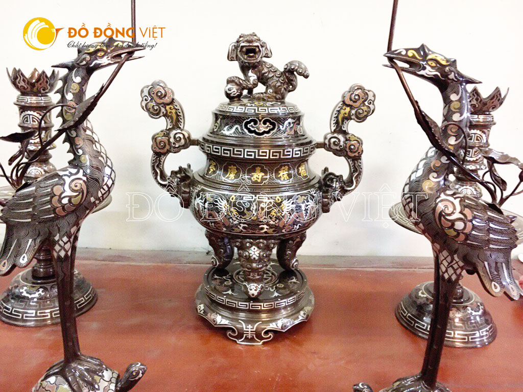 Bộ đỉnh đồng khảm ngũ sắc 5 chữ vàng đẹp tinh xảo của Đồ đồng Việt
