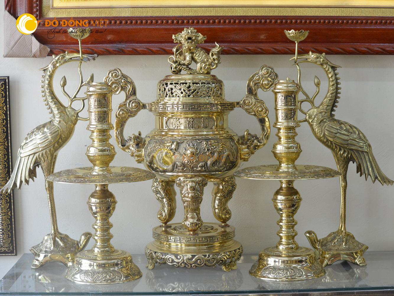 Bộ đỉnh đồng thờ cúng ngũ sự bằng đồng vàng cao 60cm