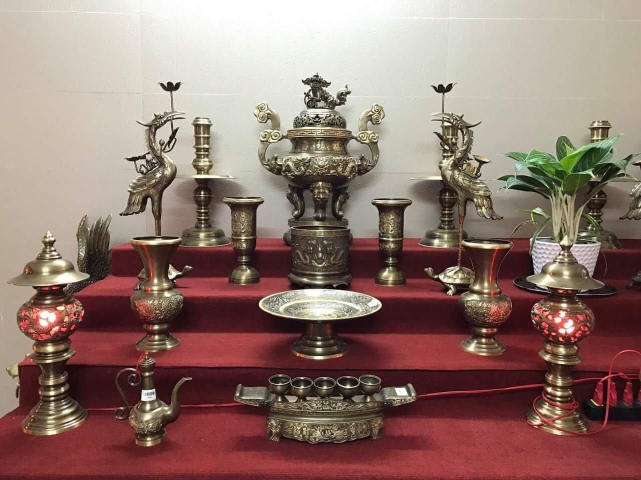 Bộ Đồ Thờ Song Long Chầu Nguyệt Hun Giả Cổ cao 60 cm