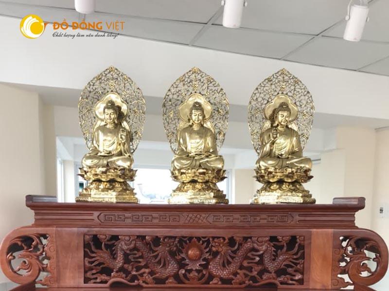 Bộ tượng phật tam thế ngồi trên đài Sen