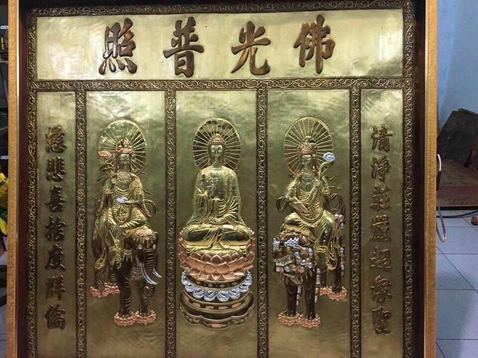 Bức Tranh 3 vị Phật A-di-đà, Quán thế âm bồ tát, Đại Thế Chí Bồ Tát