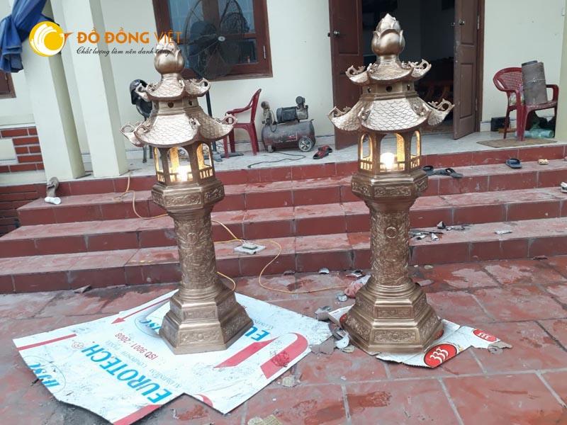 Đèn thờ cúng đình chùa, đèn đồng cỡ lớn, đúc đèn đồng theo yêu cầu