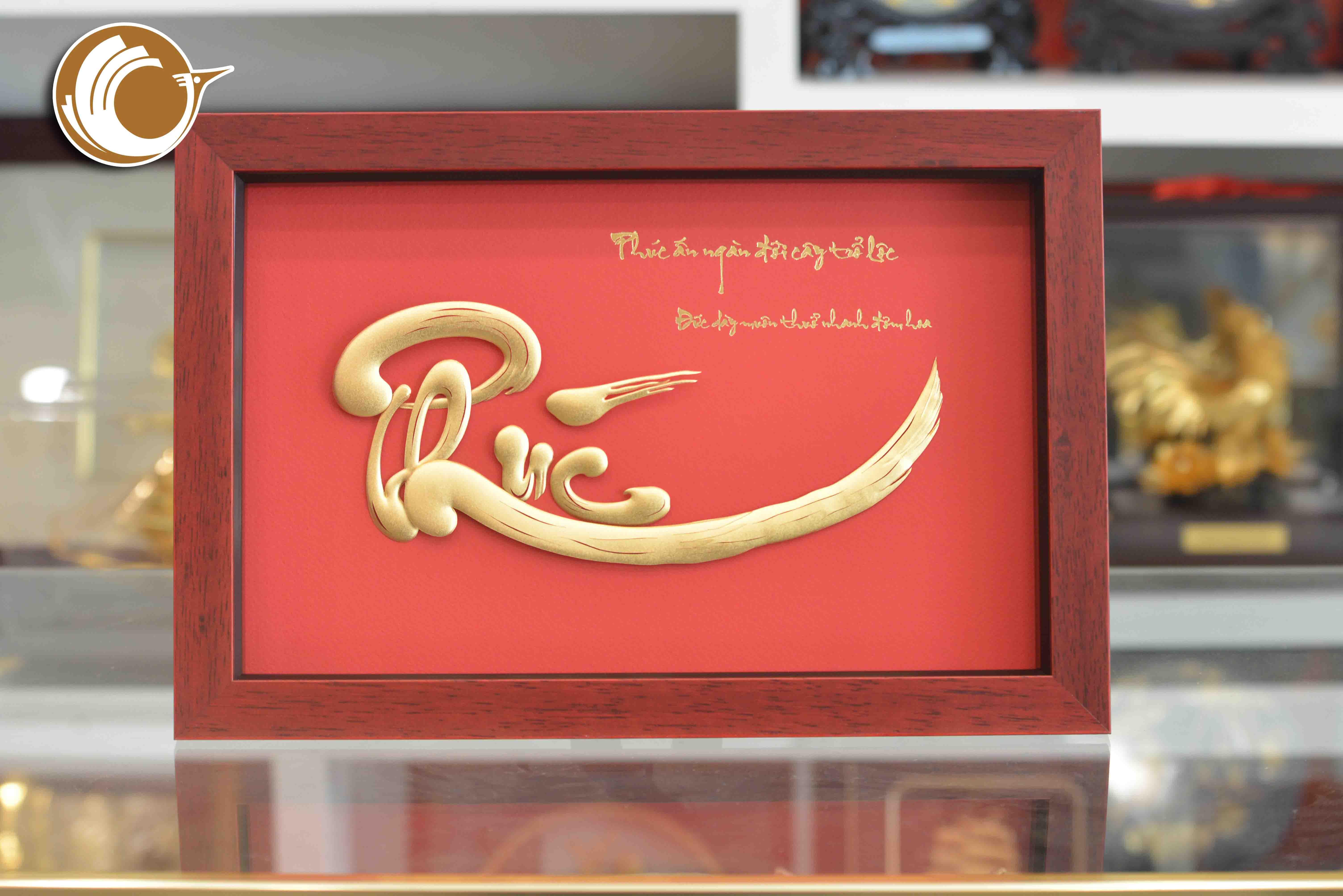 Địa chỉ bán tranh chữ phúc thư pháp mạ vàng 24k