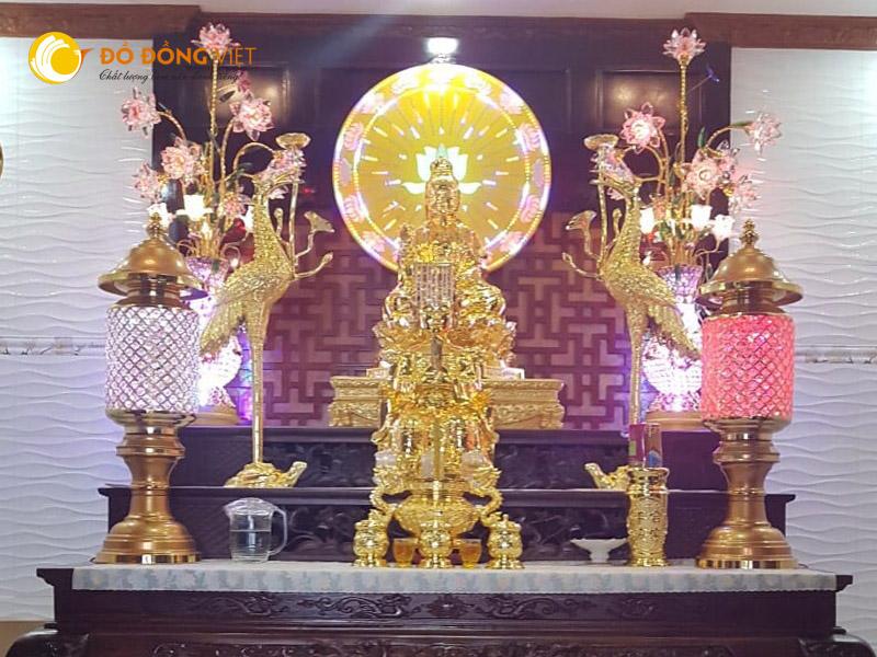 Đỉnh đồng, hạc đồng, tượng phật quan âm bằng đồng mạ vàng