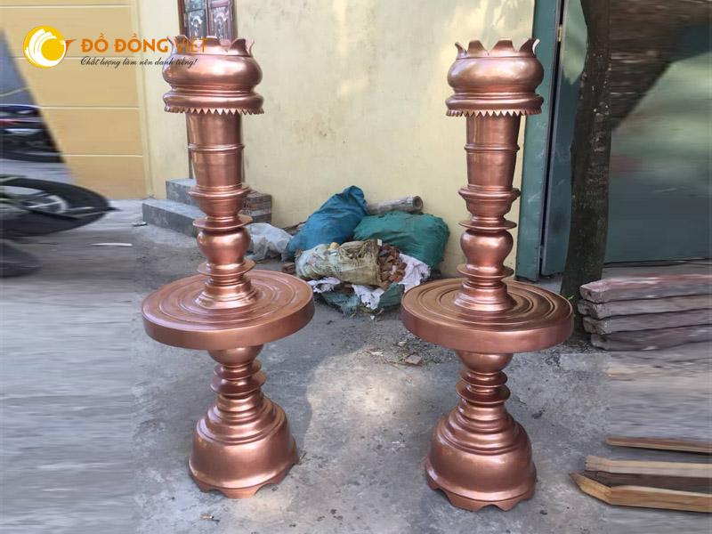 Đôi đèn đồng thờ cúng, đèn thờ đình chùa cỡ lớn