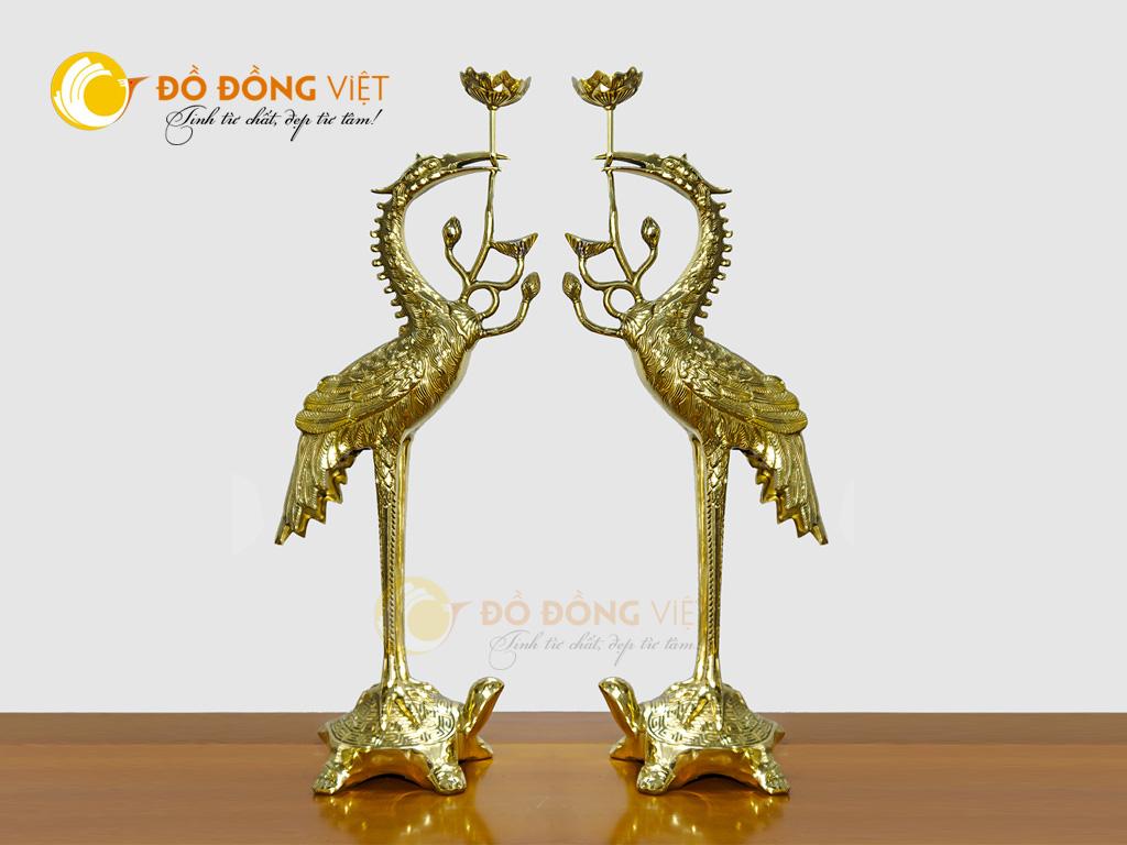 Đôi hạc thờ bằng đồng vàng đẹp tinh xảo