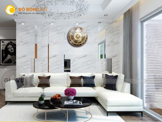 Đồng hồ mặt trống đồng Đông Sơn trang trí nội thất DK 60 cm