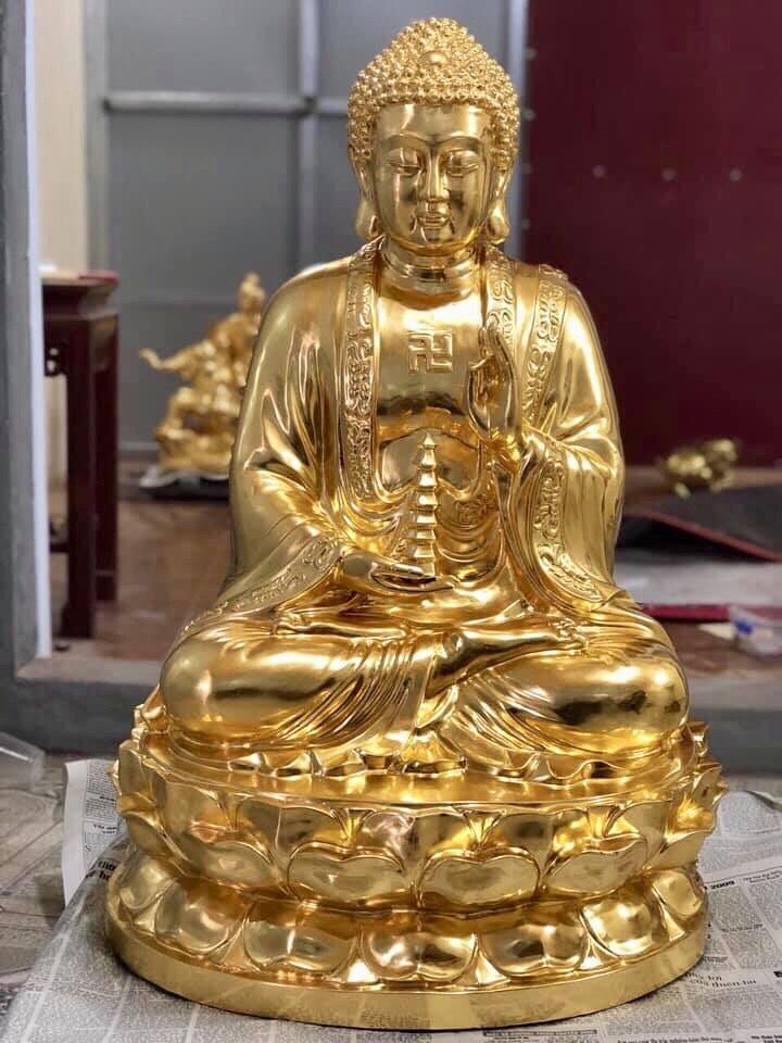 Đúc tượng Phật A Di Đà bằng đồng dát vàng theo yêu cầu