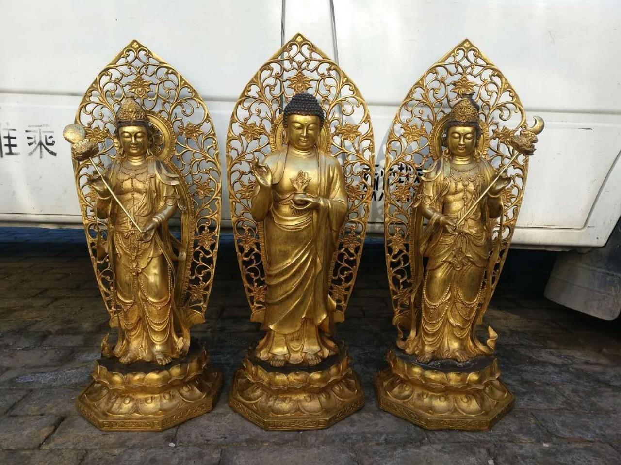 Đúc tượng Phật Tam Thế bằng đồng vàng đẹp