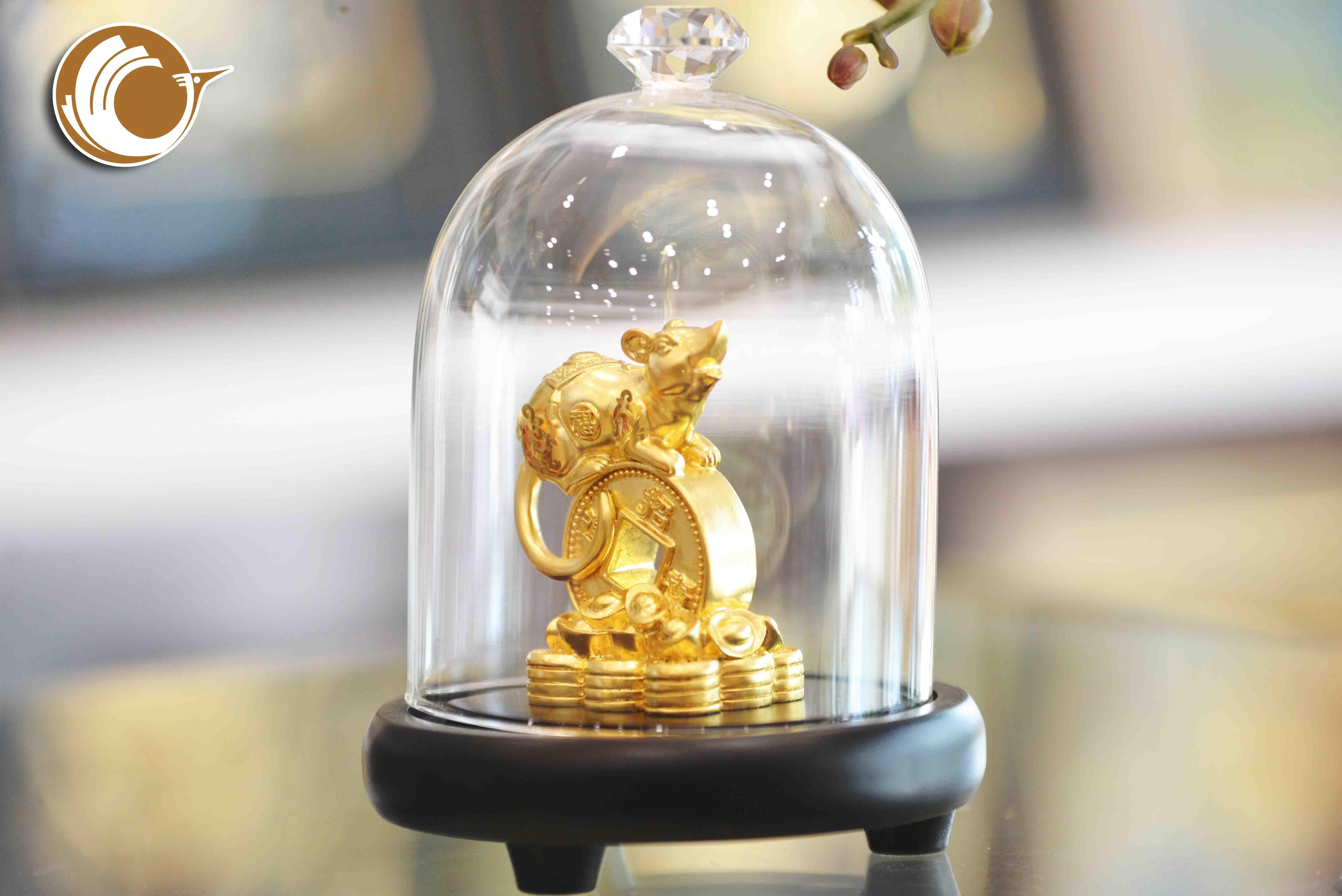 Giá bán tượng chuột bằng đồng mạ vàng, linh vật phong thủy chuột đồng