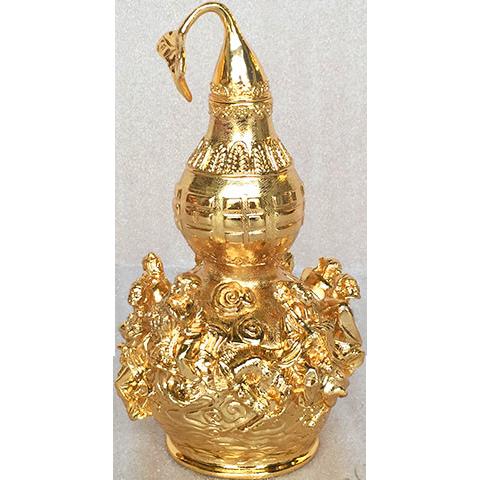 Hồ lô bát tiên bằng đồng mạ vàng phong thủy