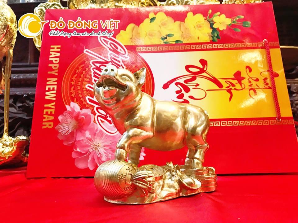 Linh vật lợn đồng phong thủy mạ vàng