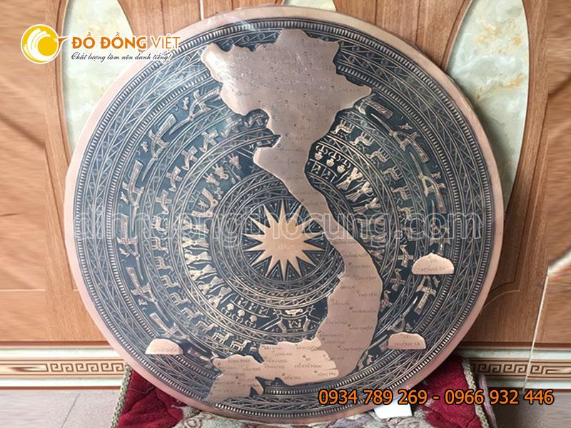 Mặt trống đồng đúc thủ công hình bản đồ Việt Nam