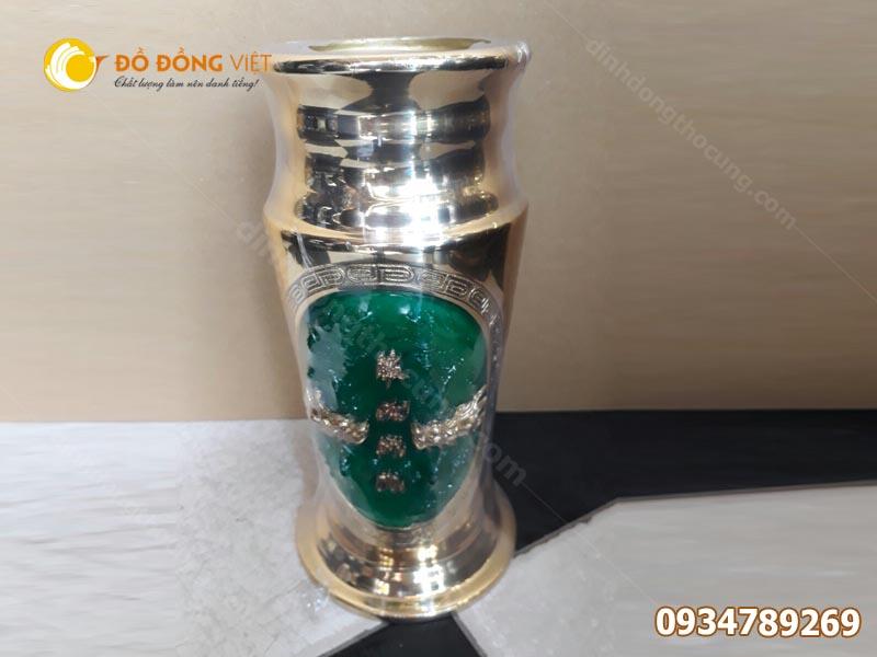 Ống cắm hương bằng đồng khảm đá cẩm thạch