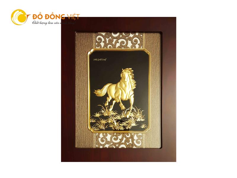 Quà tặng độc đáo, tranh ngựa dát vàng lá 18k