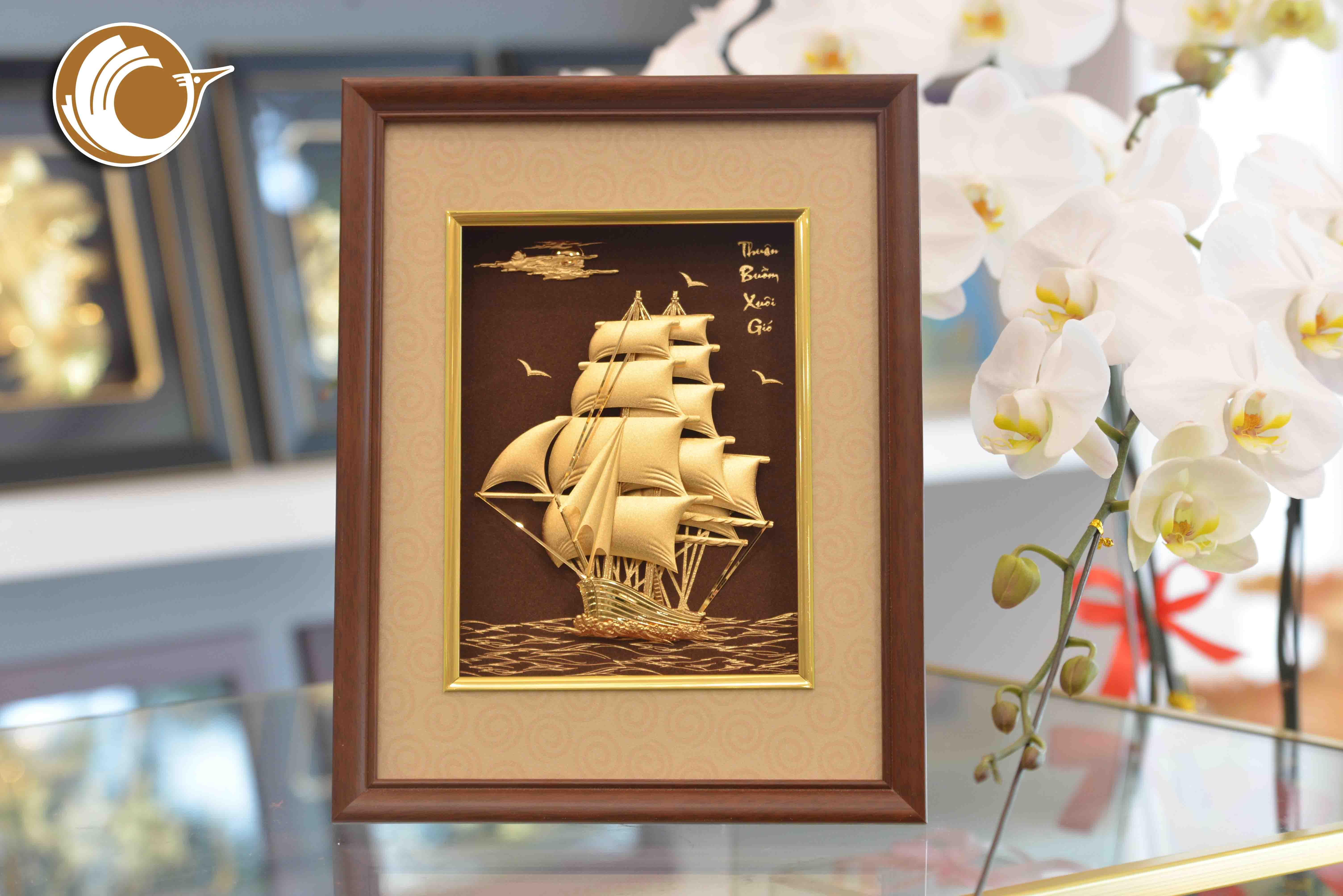 Quà tặng khai trương- Quà tặng tranh vàng thuyền buồm xuôi gió
