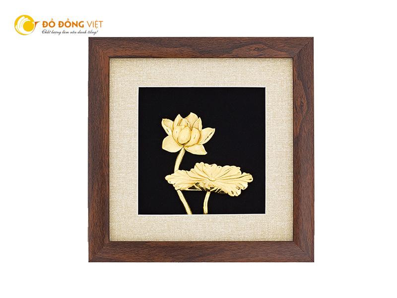 Quà tặng mỹ nghệ tranh hoa sen mạ vàng đẹp tinh xảo