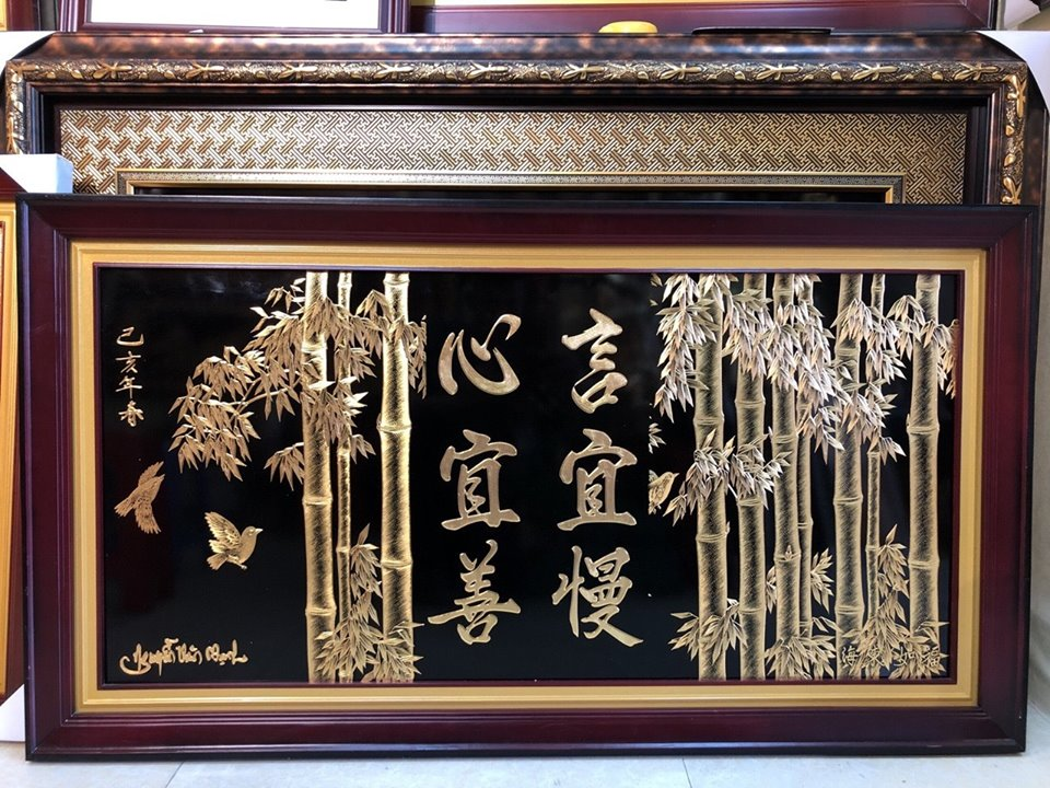 Quà tặng tranh vàng 24k, tranh cây trúc bằng đồng dát vàng