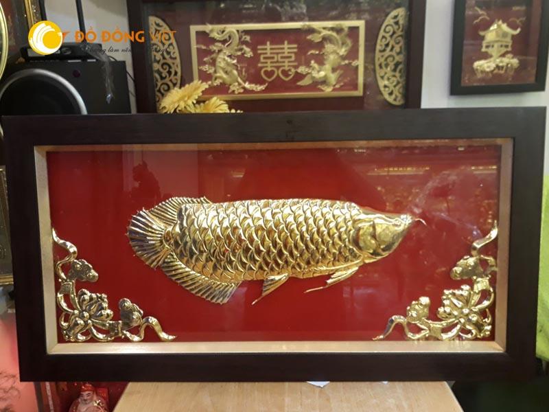 Tranh cá rồng bằng đồng mạ vàng 24k