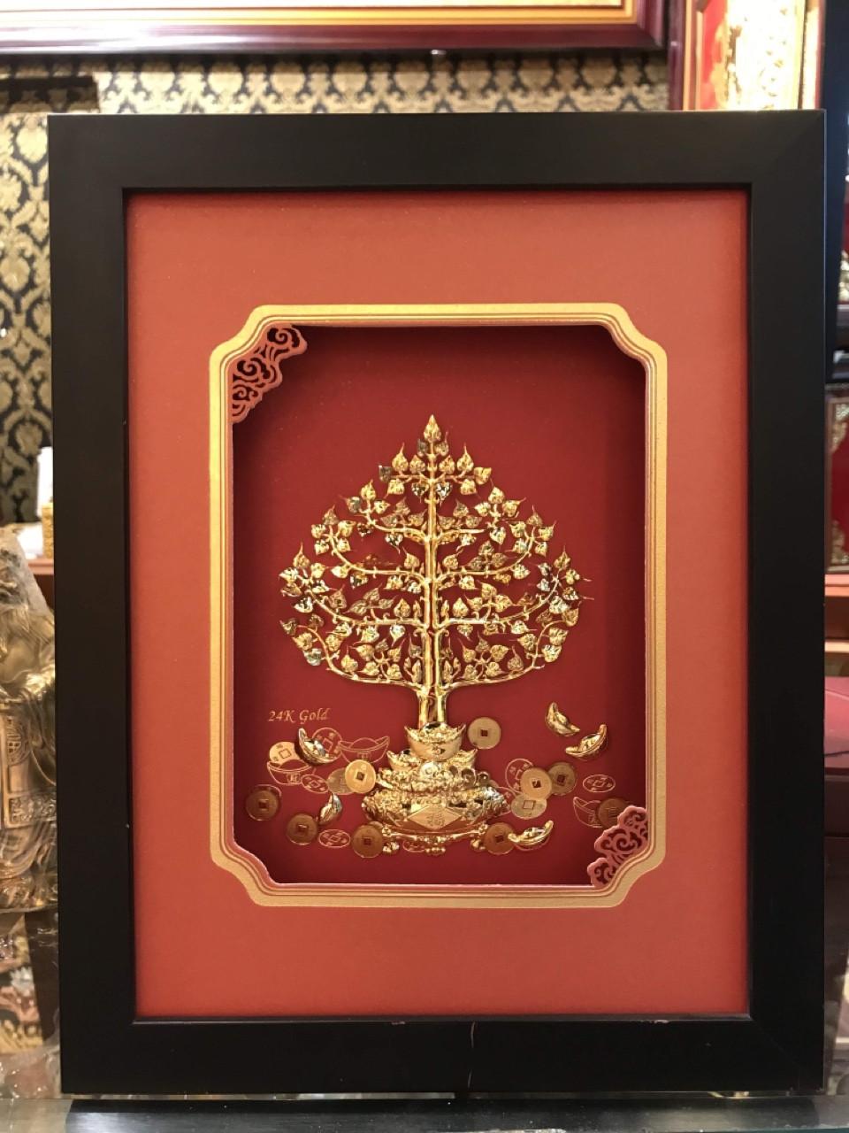 Tranh cây tiền vàng, quà tặng lưu niệm tranh cây tiền vàng 24k