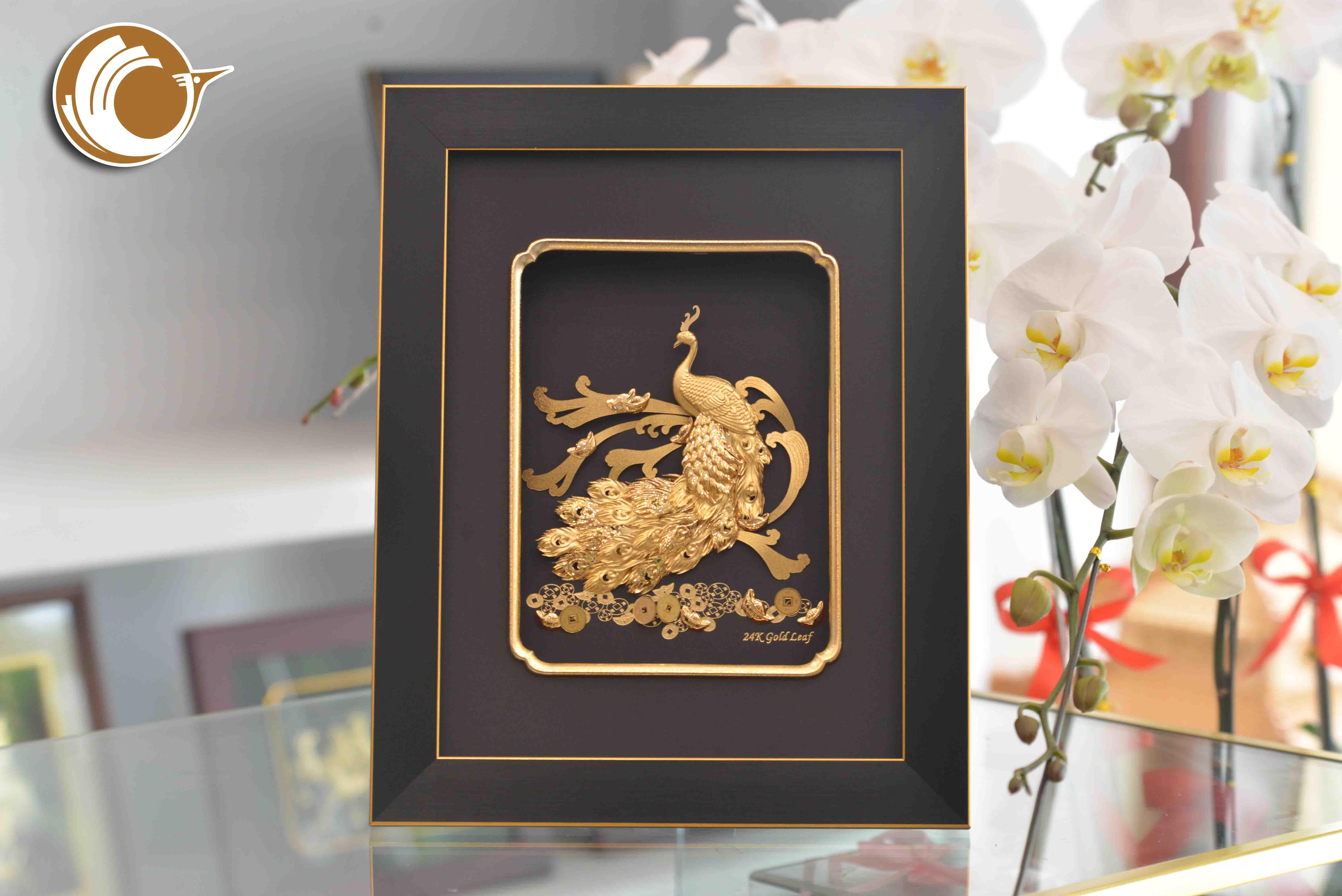 Tranh Công Bằng Vàng Lá 24k, giá bán tranh chim công