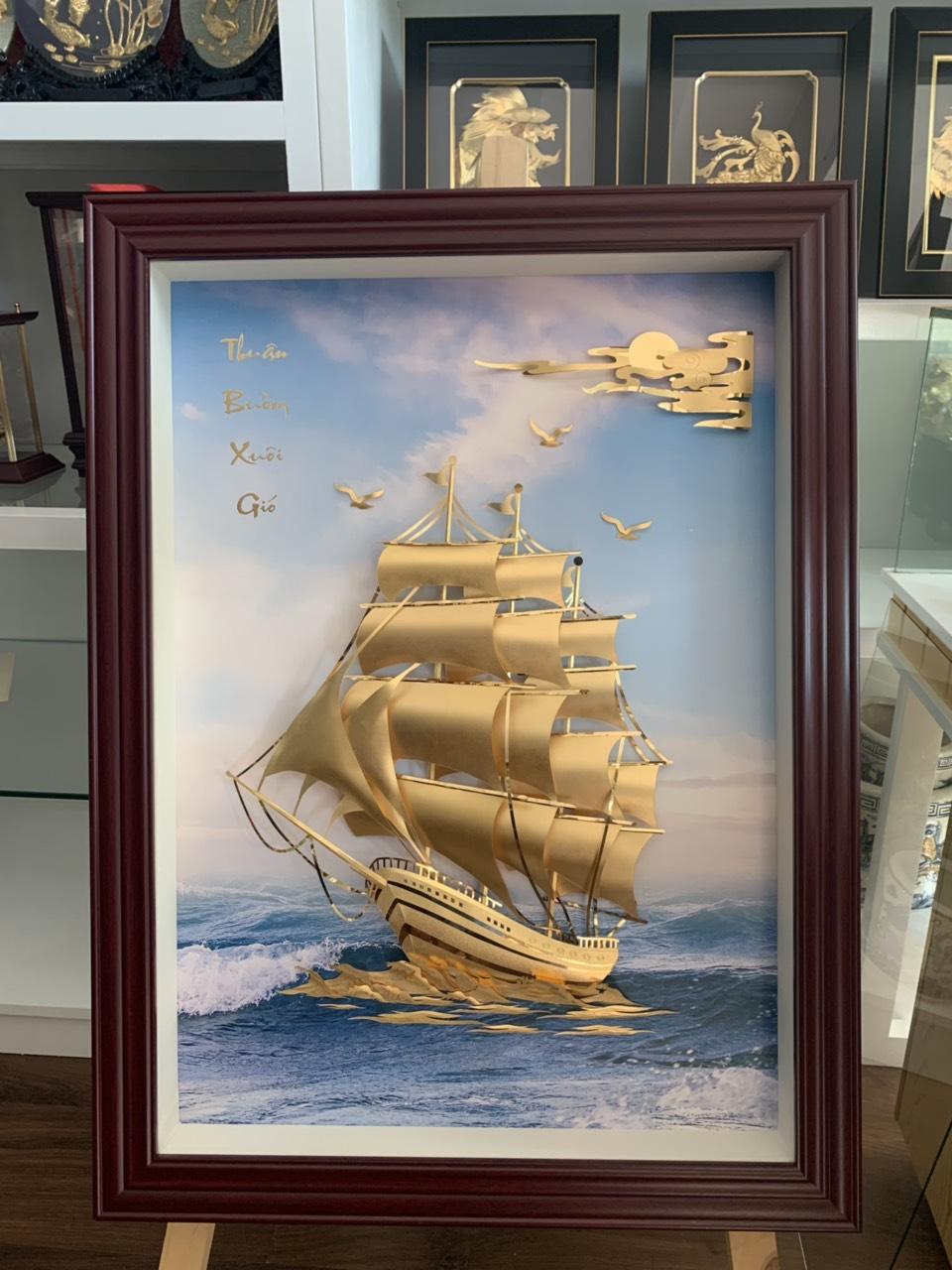 Tranh dát vàng thuyền buồm khung 27x34 cm đẹp tinh xảo