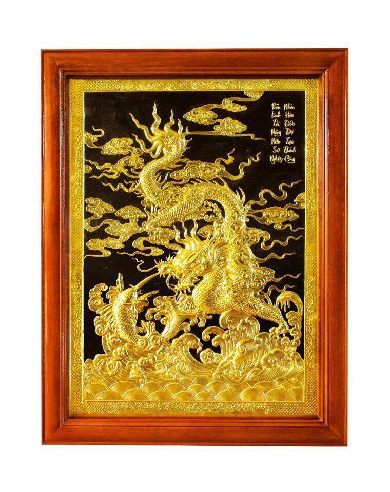 Tranh đồng mỹ nghệ cá chép hóa rồng, giá bán tranh đồng đẹp