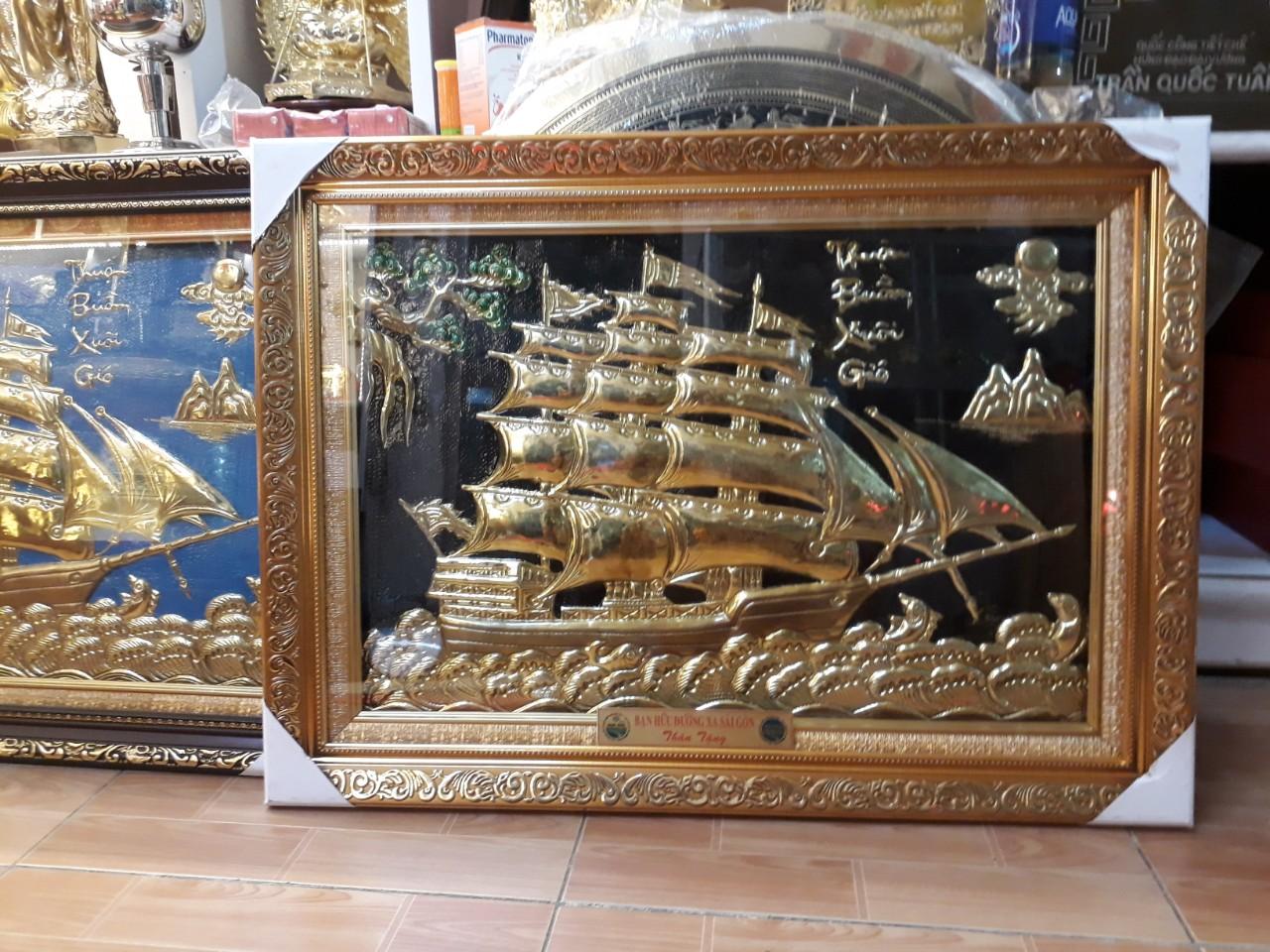Tranh đồng phong thủy Thuận Buồm Xuôi Gió cỡ nhỏ làm quà tặng lưu niệm