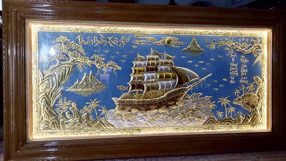 Tranh đồng thuận buồm xuôi gió mạ vàng làm quà tặng ý nghĩa