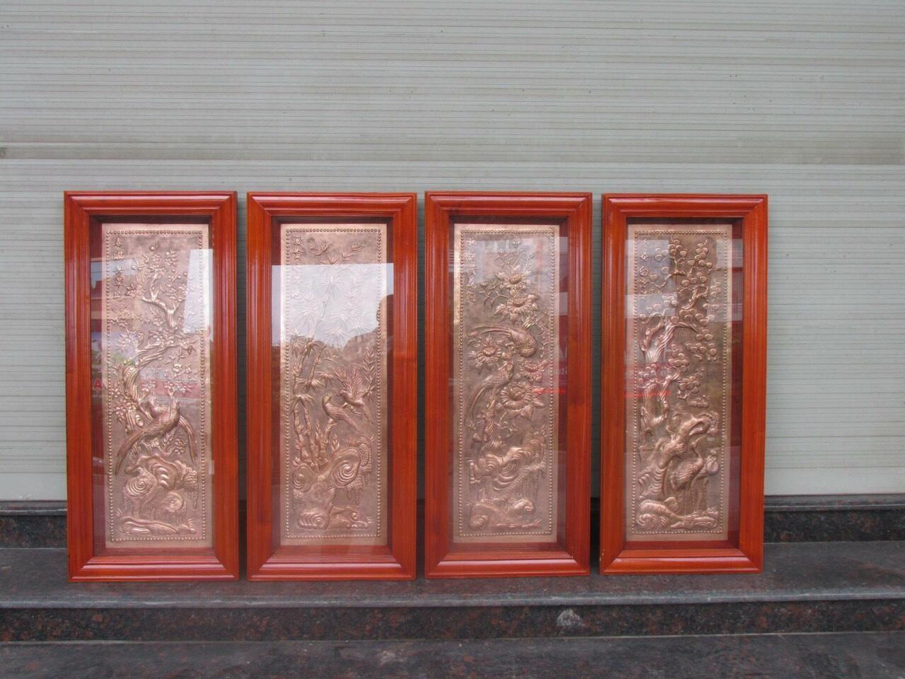 Tranh đồng tứ quý bằng đồng trang trí nội thất