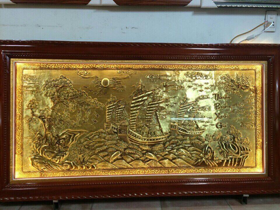 Tranh đồng  vàng thuận buồm xuôi gió làm quà mừng khai trương