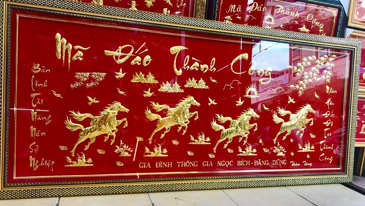 Tranh mạ vàng Mã Đáo Thành Công đẹp tinh xảo từng chi tiết