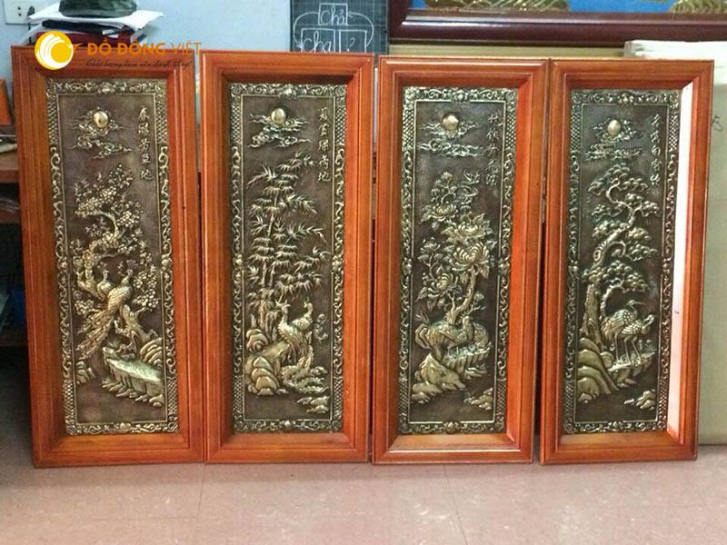Tranh tứ quý bằng đồng khung gỗ giả cổ kt 40x110