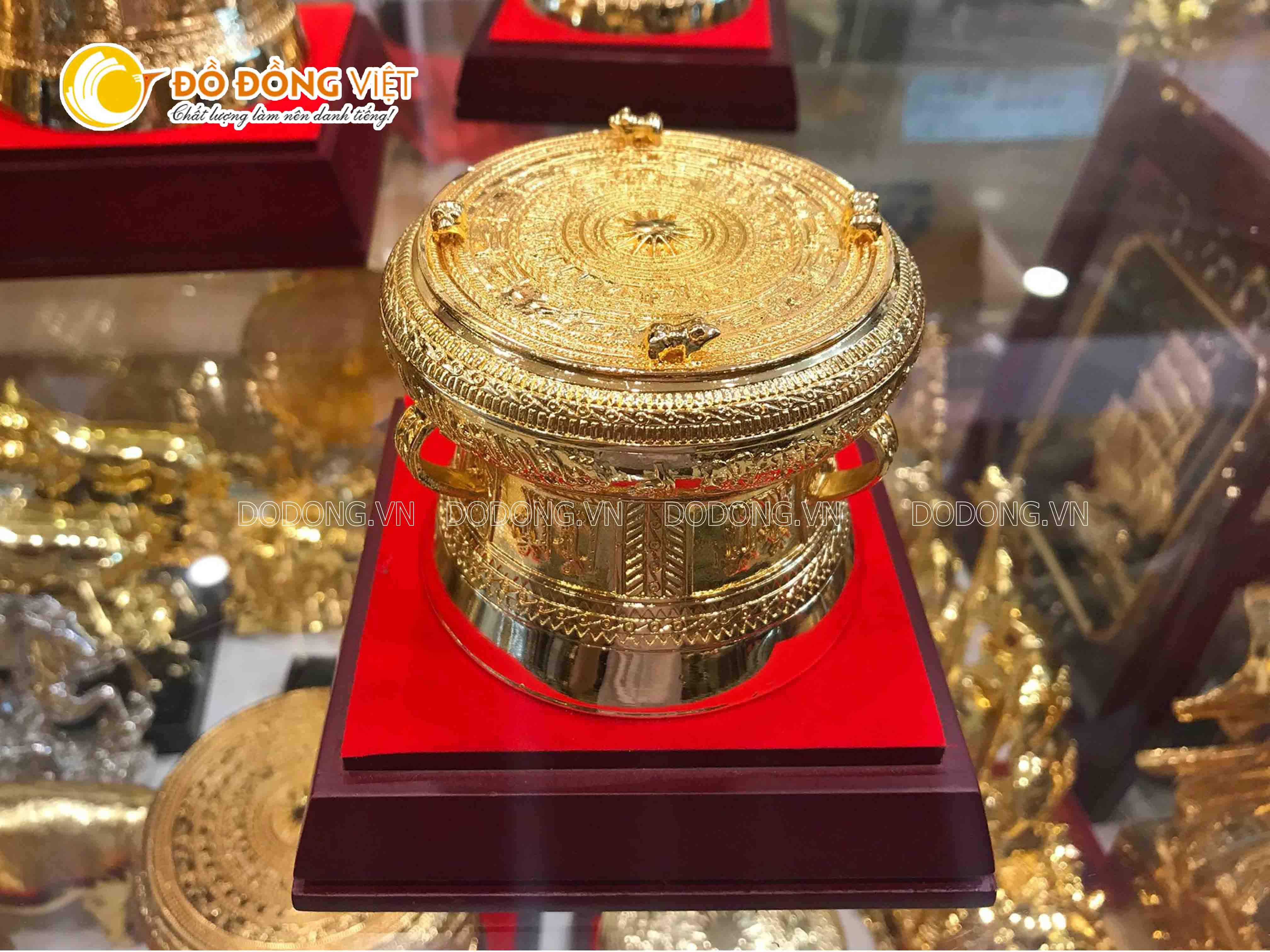 Trống đồng mạ vàng 15 cm