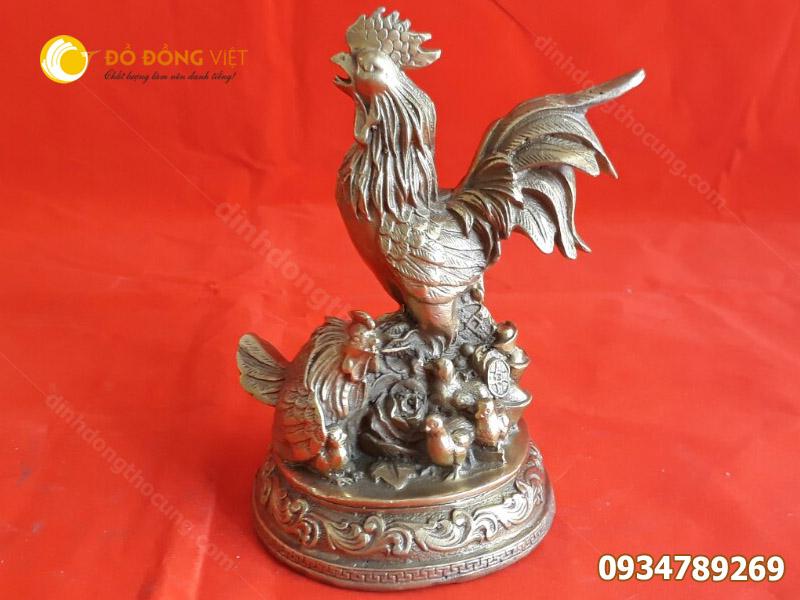 Tượng gà trống bằng đồng phong thuỷ