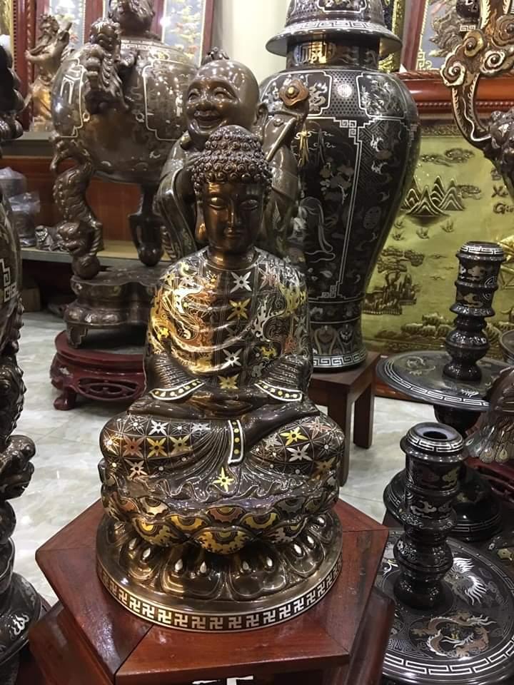 Tượng Phật Thích ca khảm ngũ sắc đẹp tinh xảo từng chi tiết