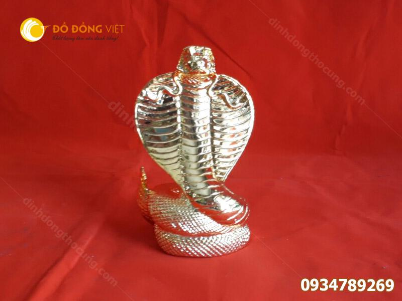 Tượng rắng bằng đồng mạ vàng phong thuỷ 15cm