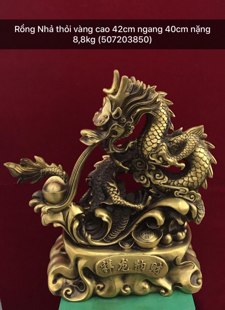 Tượng rồng nhả thỏi vàng, tượng linh vật phong thủy bằng đồng vàng